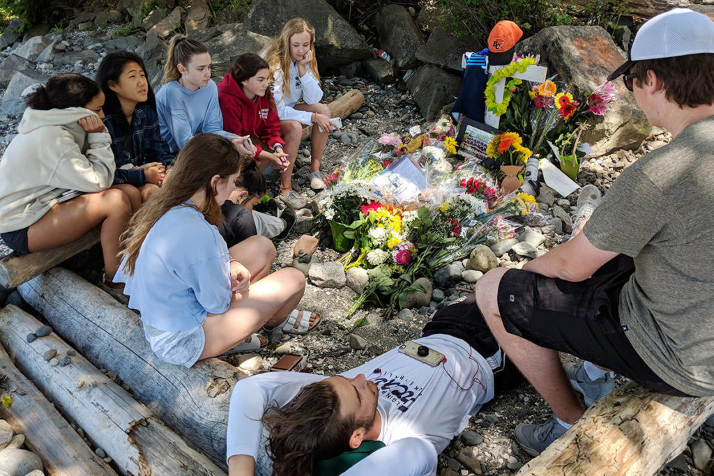 A group of high school students mourned the loss of their friend Jack Stroud, 15, who was struck and killed by a train in July. (Aaron Hinks/Peace Arch News)